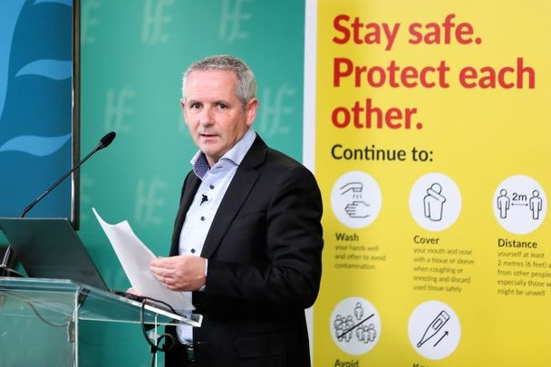 October 21, 2021: Paul Reid, CEO of Ireland\'s Health Service Executive, in Dr. Steevens Hospital for the HSE operational update on the response to Covid-19.