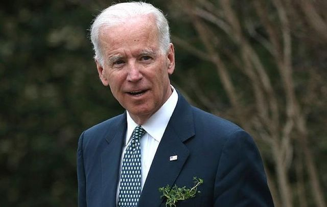 March 14, 2014: Then-Vice President Joe Biden waits for the arrival of Taoiseach Enda Kenny at the Naval Observatory in Washington, DC.