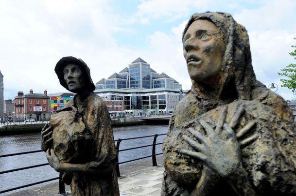A Famine Memorial shaped like a boat in Dublin.