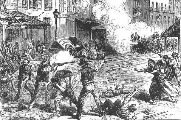 Depiction of the Draft Riots in 1863 in The Illustrated London news.