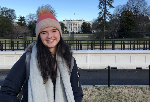 Catherine Devane in front of the White House, Washington.