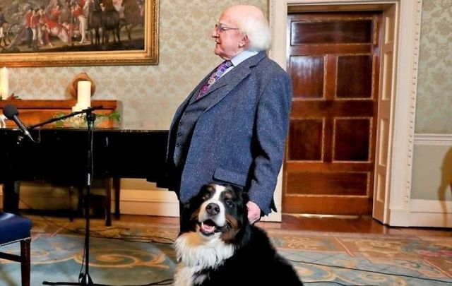 January 31, 2020: President of Ireland Michael D. Higgins with his Bernese dog Bród.