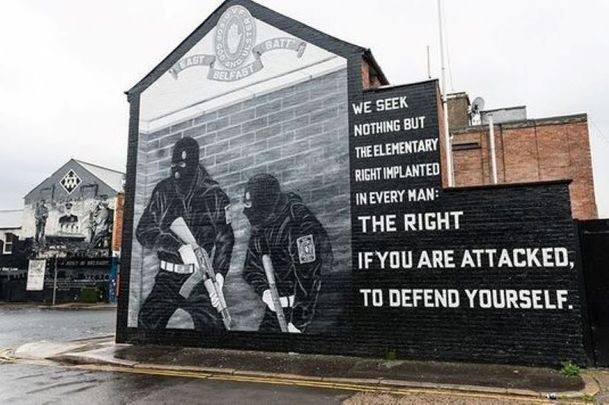 A loyalist mural in Belfast.