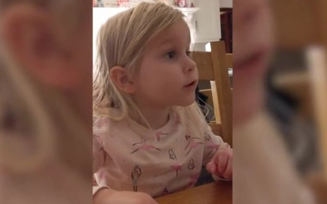This young toddler has already mastered the Northern Irish and American accents.
