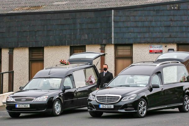 March 4, 2021: Hearses parked outside the funerals of Willie and Patrick Hennessy in Mitchelstown, Cork.
