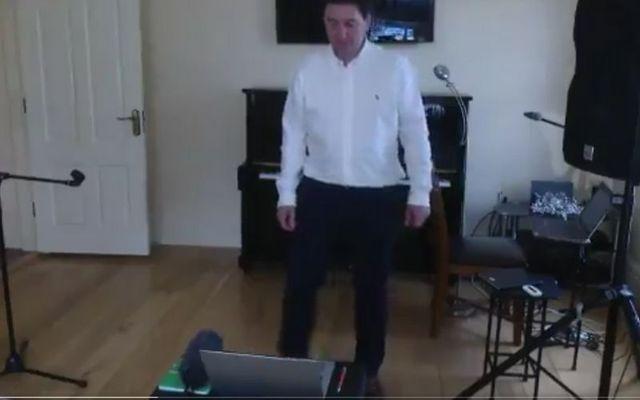Irish set dancing teacher Pat O\'Dea during a virtual class.