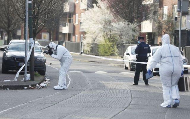 Gardaí investigate a shooting at a flat complex in Dublin.