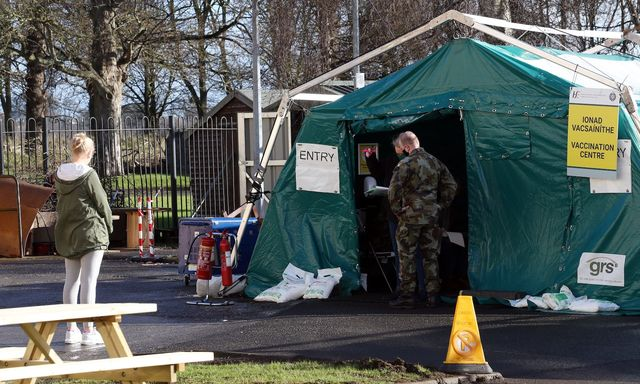 The Irish military taking charge of vaccinating frontline workers and and doctors.
