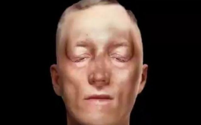 The recreated face of Irish rebel leader Robert Emmet.