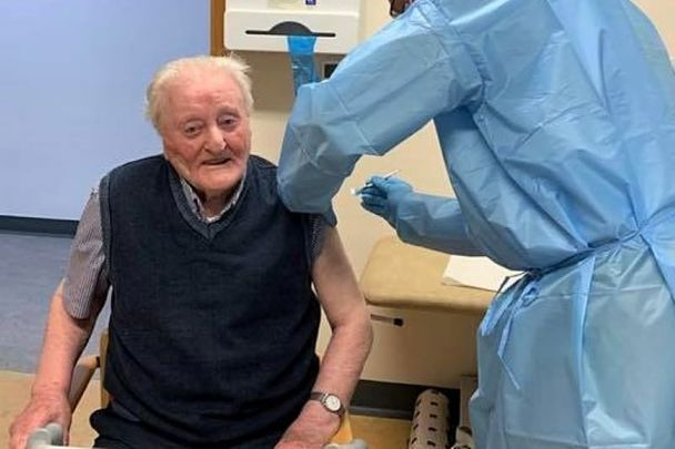 102-year-old Irish man John Hegarty broke into song while getting his jab at Glenties Primary Care Centre in Donegal on March 4.