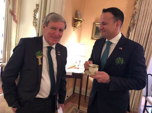 Ambassador Dan Mulhall and former Taoiseach Leo Varakdar photographed in Washington for St. Patrick\'s Day in 2018.