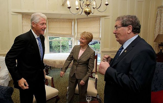 September 29, 2010: Former US President Bill Clinton greets John Hume former leader of the SDLP and his wife Pat in the Beech Hill Hotel in Derry, Northern Ireland.