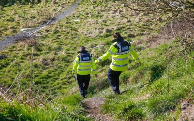 Gardaí search an area of land near the Rathmullen housing estate in Drogheda.