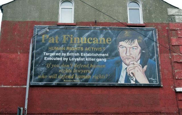 A mural featuring the murdered solicitor Pat Finucane on the Falls Road area in Belfast.