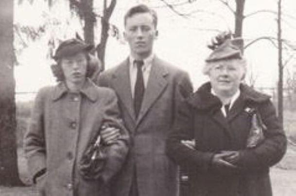 Mary\'s dad with his mum and sister in the early 1940s in Poughkeepsie, New York.