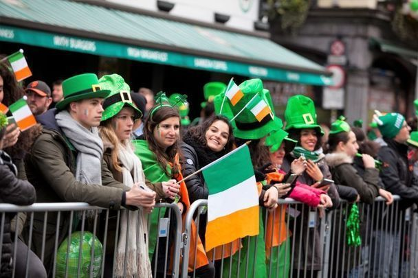 The St. Patrick\'s Day parade in Dublin prior to the pandemic.
