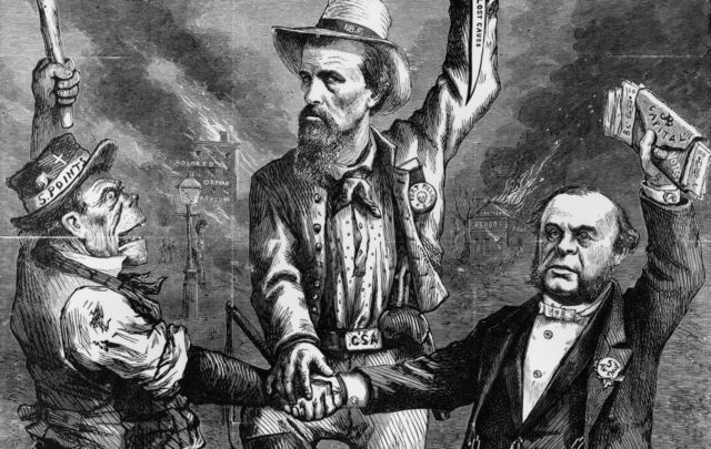 1867: An illustration by Thomas Nast, satirizing reconstruction in the southern states as a conspiracy between Irish immigrants, who were often members of gangs like the Five Pointers in New York, who solidly voted Democratic and Confederate veterans and rich businessmen who combined to prevent black Union veterans from voting.