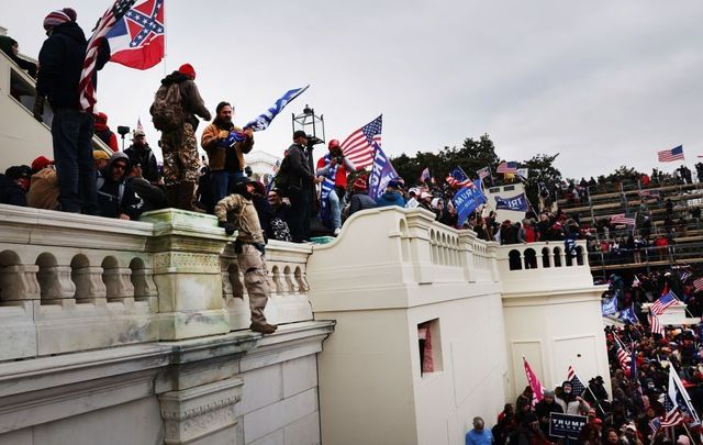 Rioters at the US Capitol on January 6, 2021.