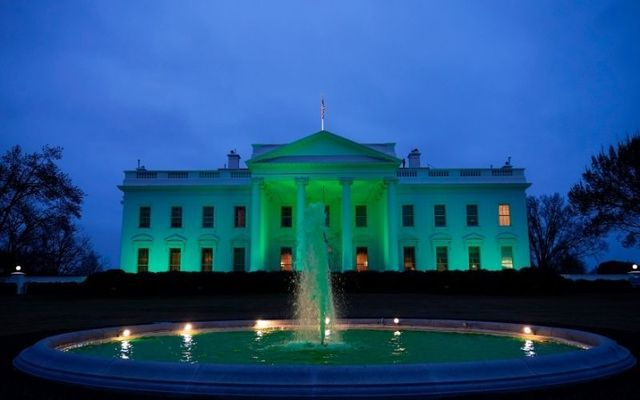 The White House turned green on Wednesday to celebrate St. Patrick\'s Day.