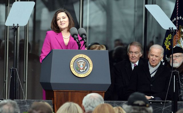 Victoria Reggie Kennedy speaks as U.S. President Barack Obama (L), U.S. Senator Edward Markey (D-MA), and U.S. Vice President Joe Biden listen during the Edward M. Kennedy Institute Dedication Ceremony March 30, 2015 in Boston, Massachusetts.