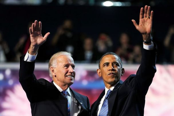 September 6, 2012: Joe Biden and Barack Obama accepting the Democratic nomination.