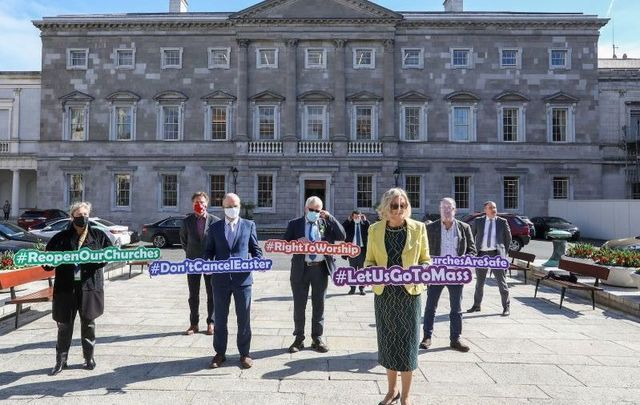 March 23, 2021: A coalition of TDs outside Leinster House call on the Irish government to ensure churches are open for Easter services.