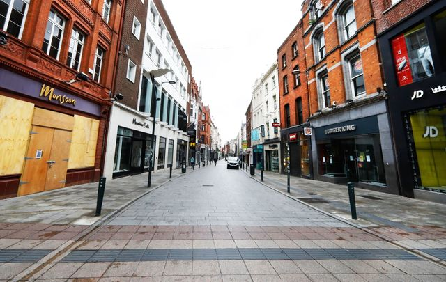 The center of retail in Dublin\'s city centre, an empty Grafton Street, during COVID lockdown.