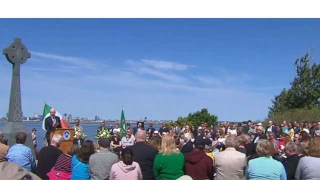Ceremony for the launch of the Celtic Cross on Deer Island in 2019