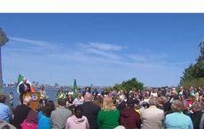 A 16-foot Celtic Cross in Boston Harbor honors the Irish Famine dead