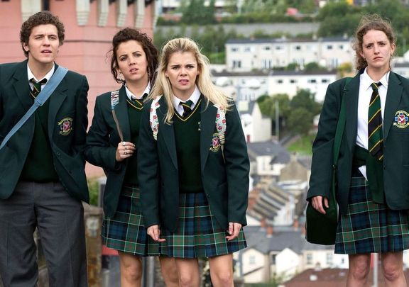 """James (Dylan Llewellyn), Michelle (Jamie-Lee O\'Donnell), Erin (Saoirse-Monica Jackson), and Orla (Louisa Harland) from \""""Derry Girls.\"""""""