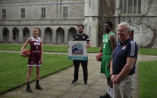 Ireland underage internationals Aine McDonagh and Malik Thiam attend the unveiling of Basketball Ireland\'s center of excellence at NUI Galway.