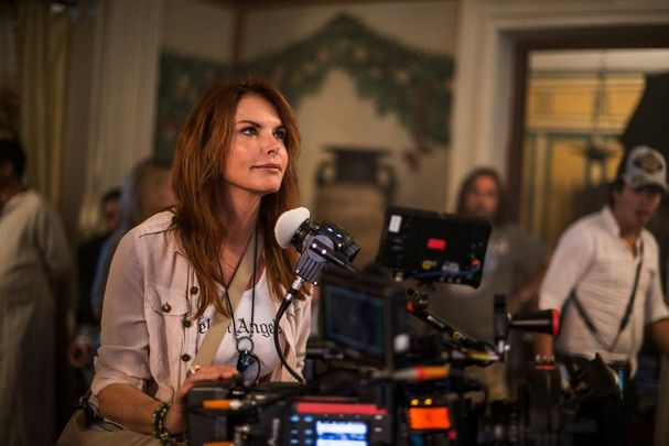 Roma Downey working on the Resurrection.