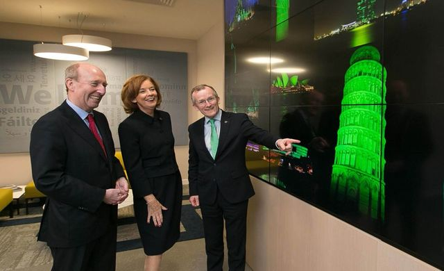 Minister Shane Ross; Joan O'Shaughnessy, Chairman of Tourism Ireland; and Niall Gibbons, CEO of Tourism Ireland, at the launch of Tourism Ireland's Global Greening initiative 2019.