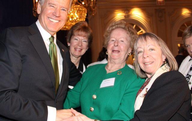 Vice President Joe Biden, Peggy Egan, Nora Murphy and Tree Murphy in 2013.