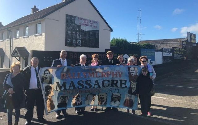 AOH National President Danny O'Connell and Secretary Jere Cole in Ballymurphy.