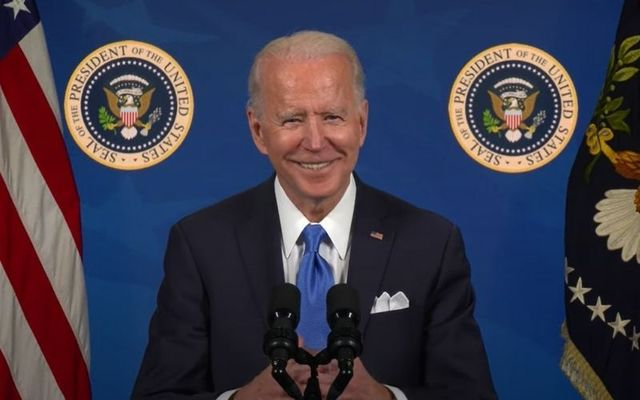 President Joe Biden\'s congratulatory video for newly-naturalized Americans.