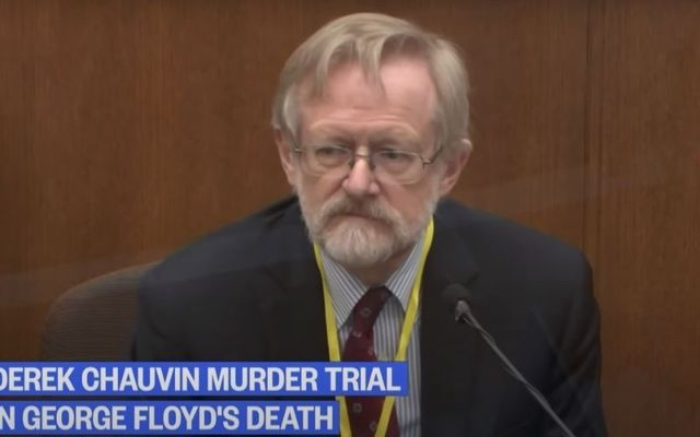 Dr. Martin Tobin speaks during the ninth day of the Derek Chauvin murder trial.