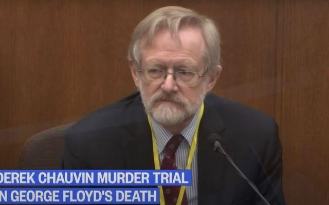 Dr. Martin Tobin speaks during the Derek Chauvin murder trial.