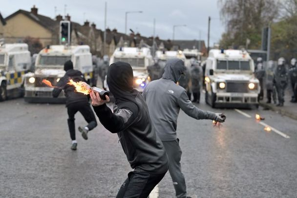 April 8, 2021: Disorder on the Springfield Road just up from Peace Wall interface gates which divide the nationalist and loyalist communities in Belfast, Northern Ireland.