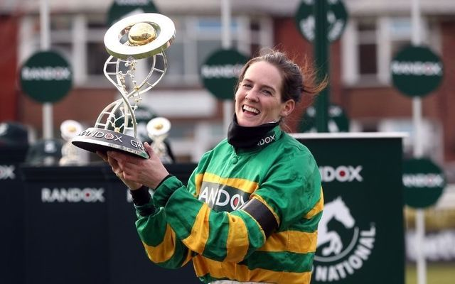 Rachael Blackmore celebrates after winning the Aintree Grand National on Saturday.