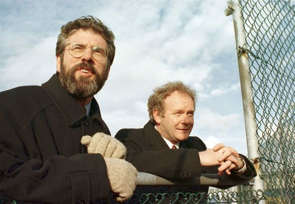 Sinn Fein President Gerry Adams with Chief Negotiator Martin McGuinness photographed in 1998 during the final approvals of the Good Friday Agreement.
