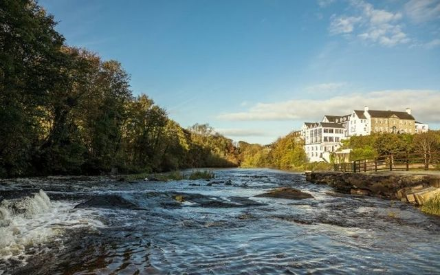 The River Inagh as it flows past the Falls Hotel & Spa in County Clare.