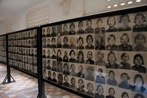Photos of Security Prison 21 (S-21) prisoners that are now housed at The Tuol Sleng Genocide Museum in Phnom Penh, the capital of Cambodia.
