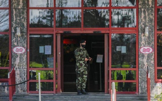 Irish Defence Forces enforce mandatory hotel quarantine at the Crowne Plaza Hotel in North Dublin.