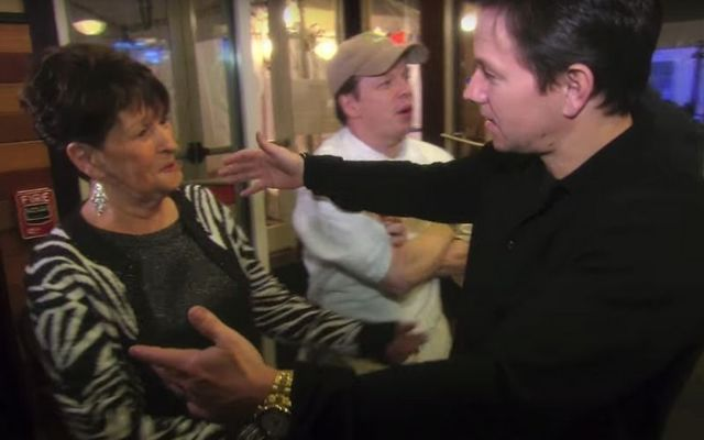 """Alma Wahlberg and her son Mark Wahlberg in a clip from the television show \""""Wahlburgers.\"""""""