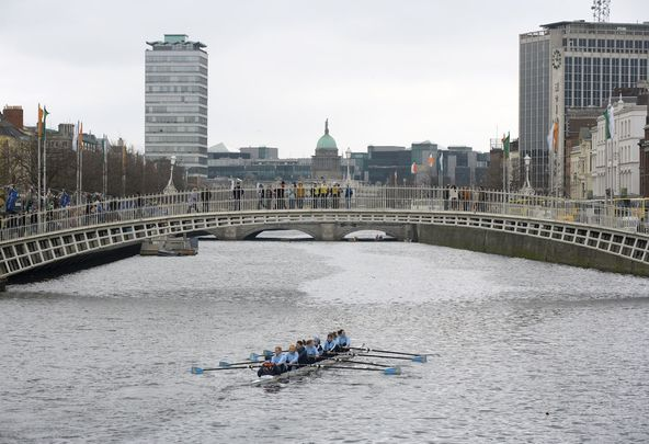 Dublin: The River Liffey, at the Ha\' Penny Bridge during the Liffey Descent race.