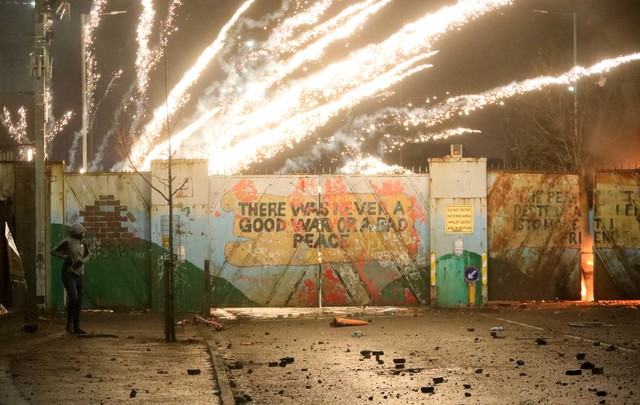 Images of riots at Belfast \'peace wall\' on 7 April 2021 were flashed around the world.