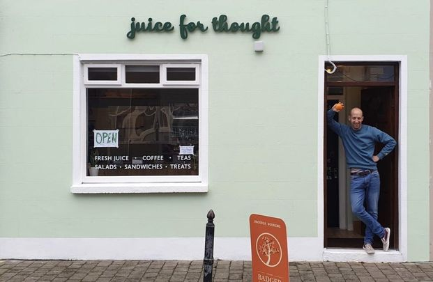 Matt Browne standing in front of his new business Juice for Thought