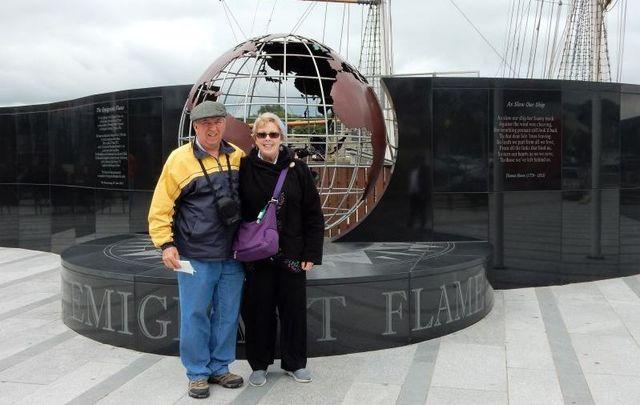 Kate and Mike in New Ross, Co. Wexford where the Emigrant Flame was lit from the JFK Eternal Flame in Arlington National Cemetery, Virginia.