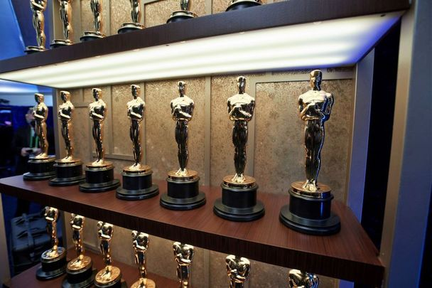 April 25, 2021: Oscar statuettes backstage during the 93rd Annual Academy Awards at Union Station in Los Angeles, California.